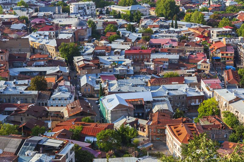 Roofs of houses of old Tbilisi stock photos