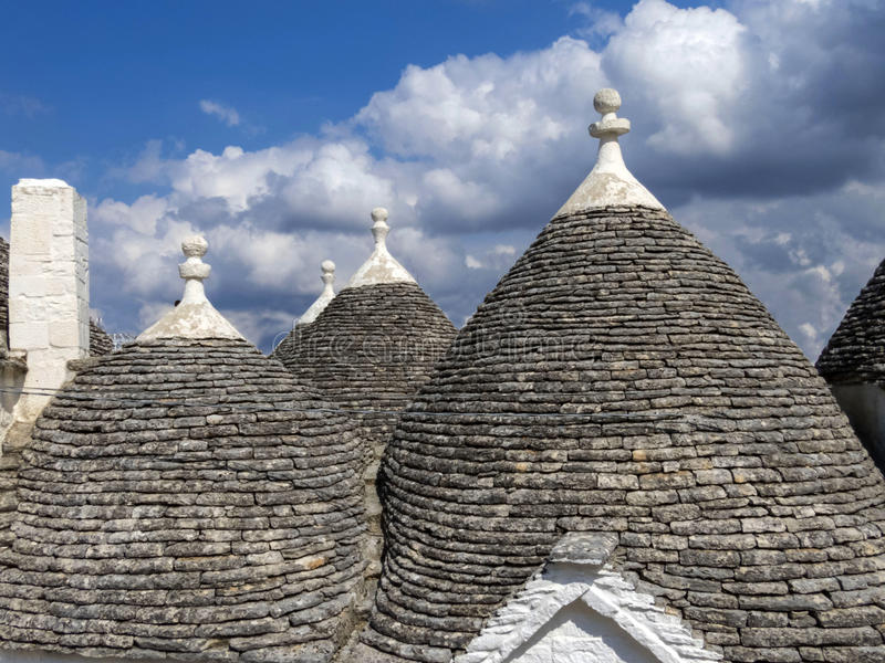 Roofs of houses in the village called Trolls. Arbelobelo Italy stock images