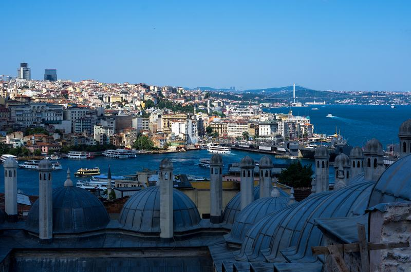 Roofs of Istanbul and view over the Bosphorus, Turkey stock photo