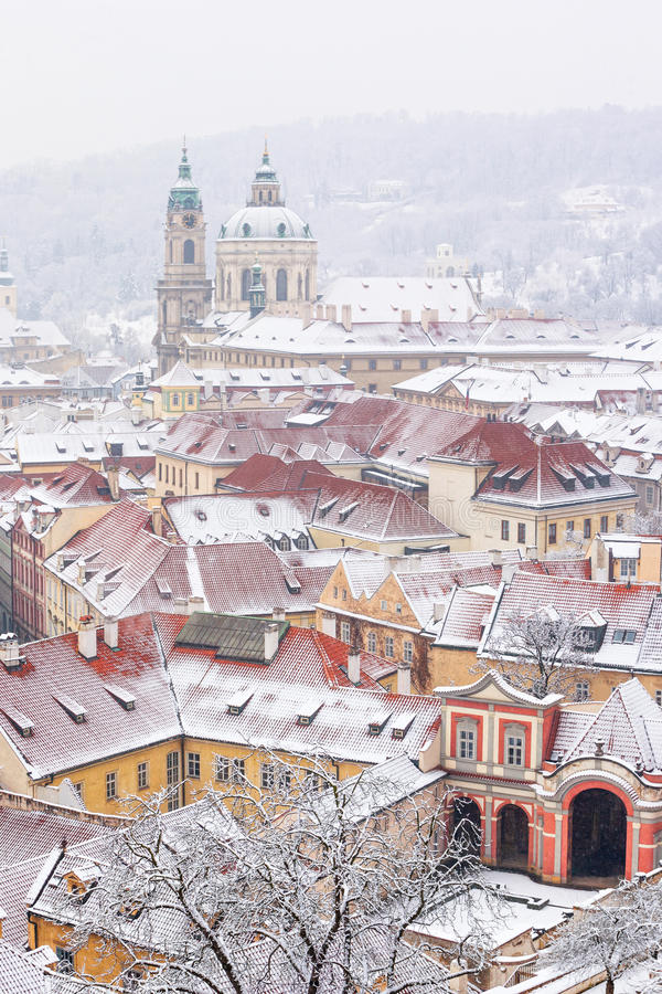 Roofs of Ledebursky palace and St. Nicolas church royalty free stock image