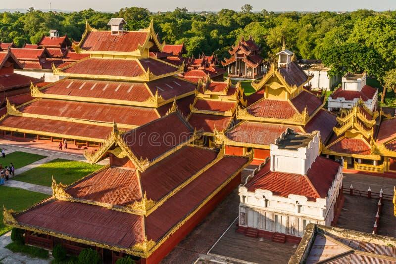 Roofs of Mandalay Palace stock image