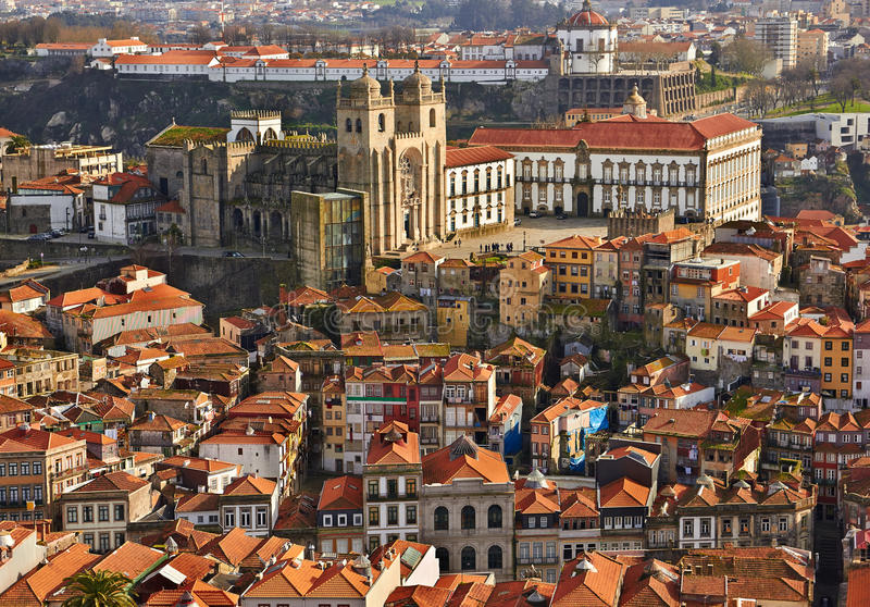 Roofs of old city and The Porto Cathedral (Se do Porto) in Porto. Portugal stock images