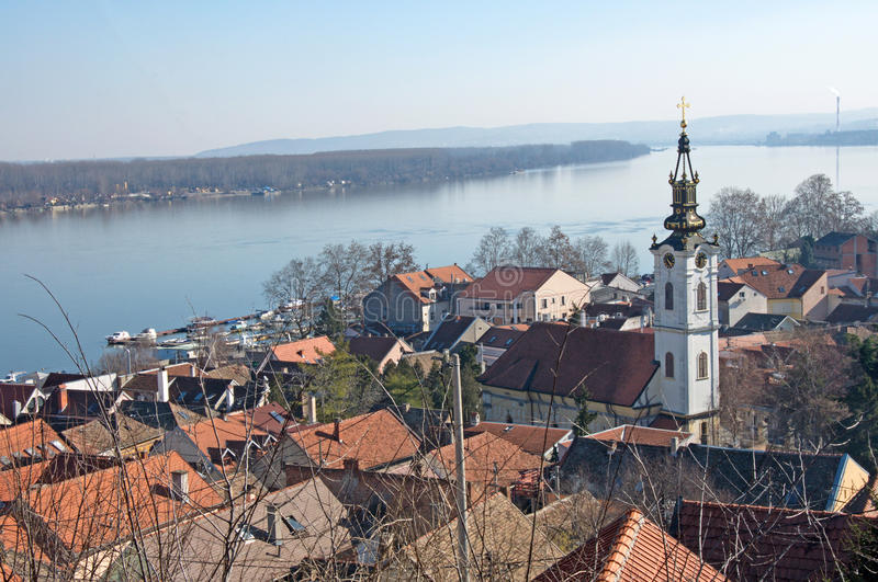 Roofs of the old quarter Gardos and river Danube, Zemun, Serbia. Landscape of the roofs of the nostalgic old quarter Gardos. This is a part of Zemun, Serbia royalty free stock photos