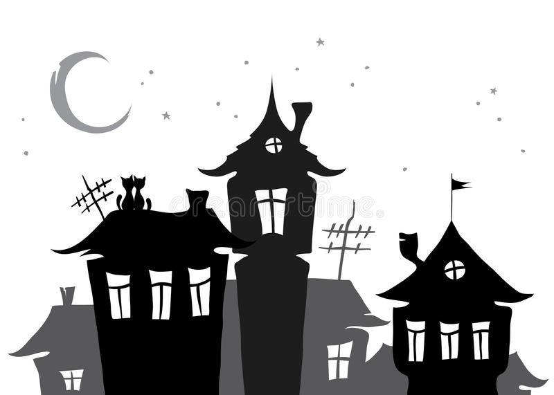Download Roofs of the old town stock vector. Image of antenna - 24020450