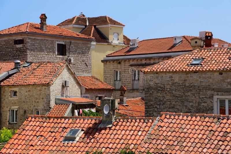 Roofs in old town of Budva royalty free stock photography