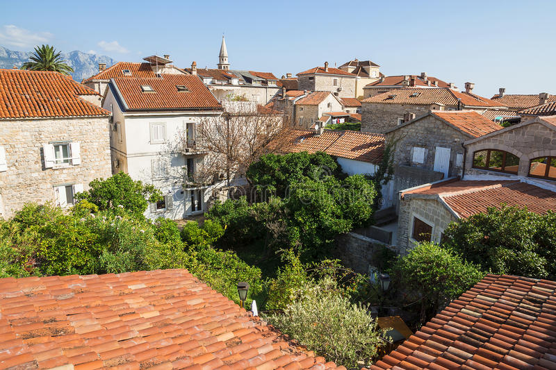 Roofs of the old town of Budva, Montenegro stock photos