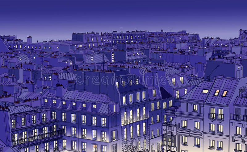 Download Roofs in Paris stock vector. Image of night, drawing - 23514244