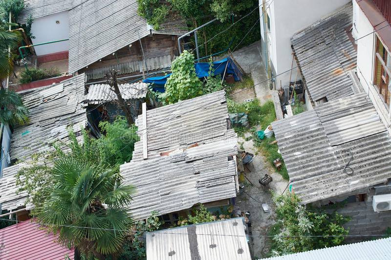 Roofs poor urban areas. Top view stock image