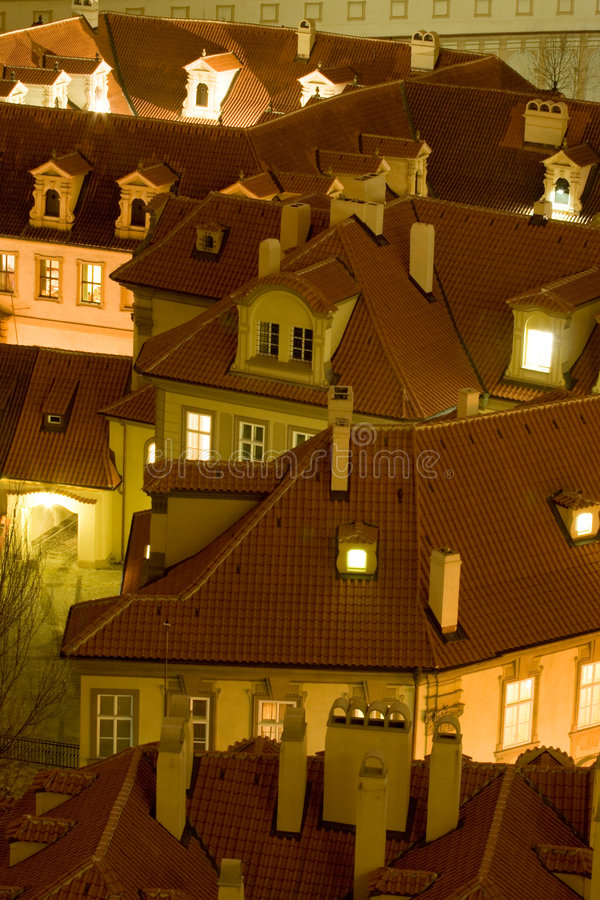 Roofs of Prague stock photography