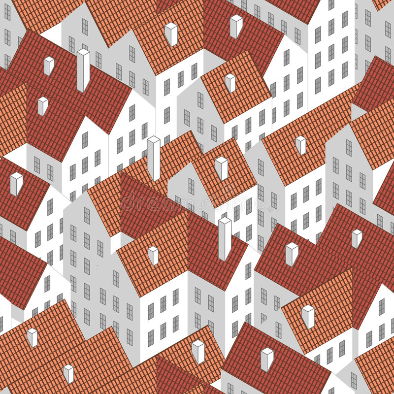 Roofs (seamless vector wallpaper) stock image