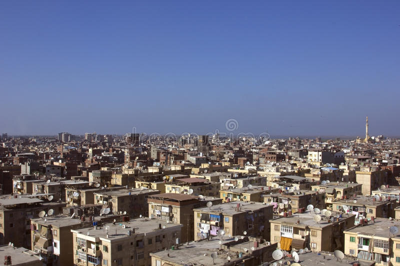 Roofs of slum housing in Damietta, Egypt royalty free stock images