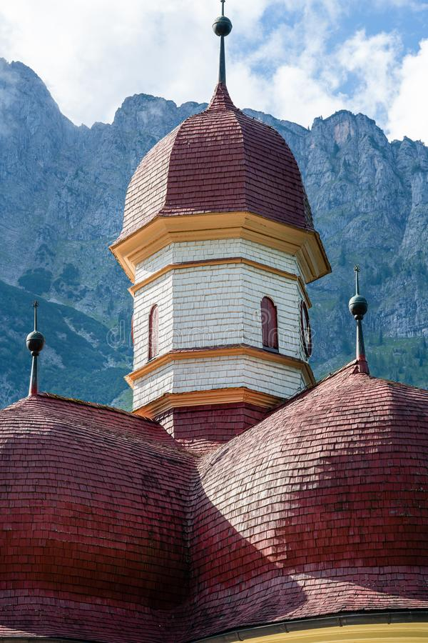 Roofs of  St. Bartholomew`s chapel on Lake Koenigsee. St. Bartholomew`s chapel on Lake Koenigsee. Dome royalty free stock photo