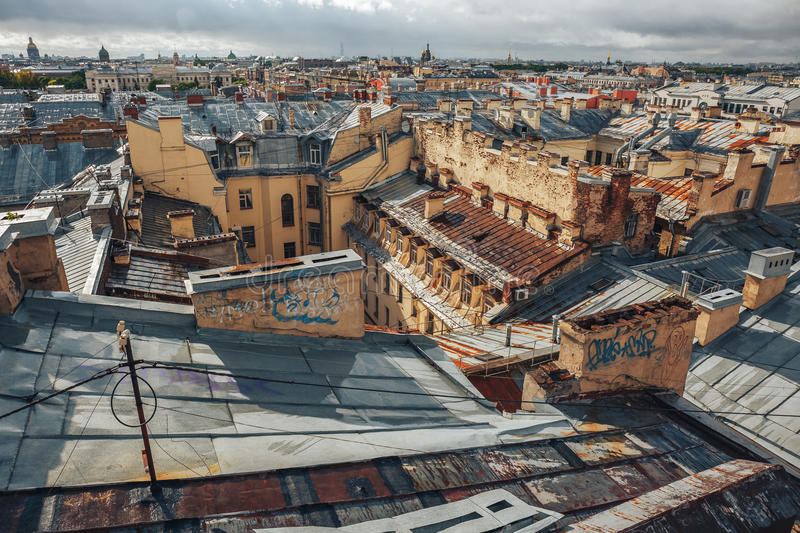 Roofs of St. Petersburg, horizon line, yellow houses, churches. Downtown stock photos