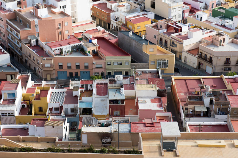 Roofs and terraces of the small town of spain poor neighborhood. Roofs of the small town of spain poor neighborhood stock photography