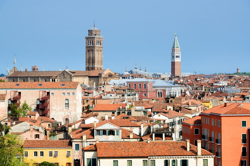 Roofs of Venice old town stock photo