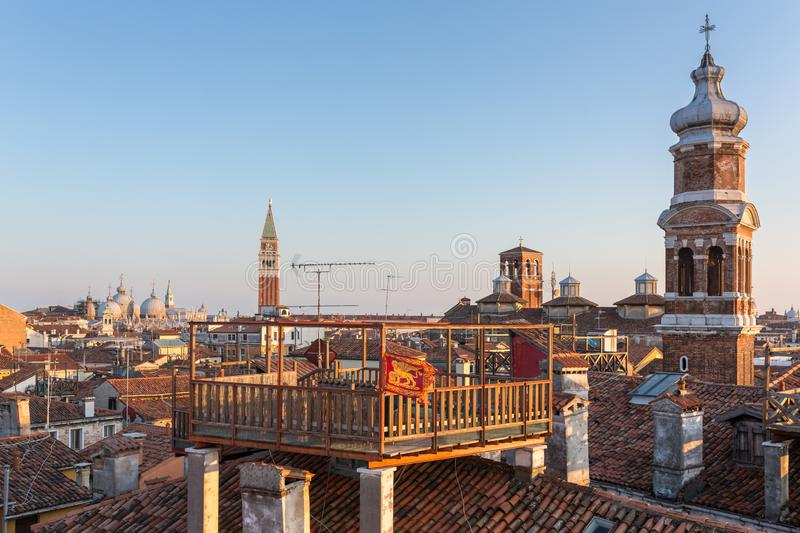 Roofs of Venice at sunset. Italy royalty free stock photography
