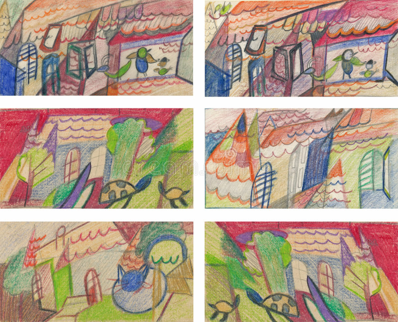 Roofs, villages, drawing royalty free illustration
