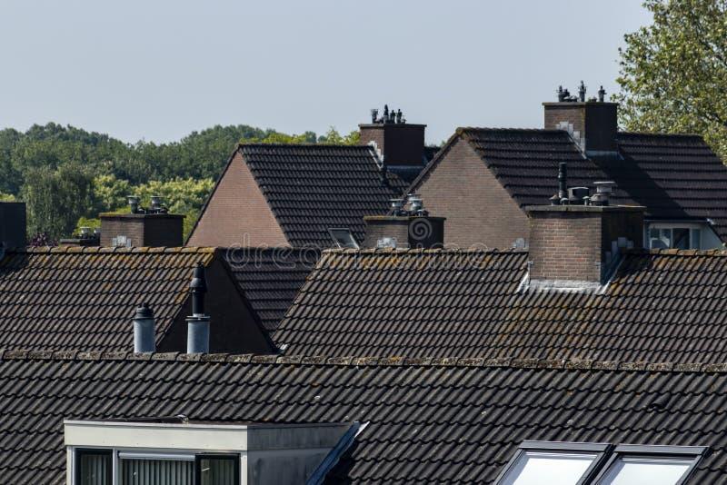 Roofscape belade med tegel takBarendrecht Nederl?nderna royaltyfri fotografi