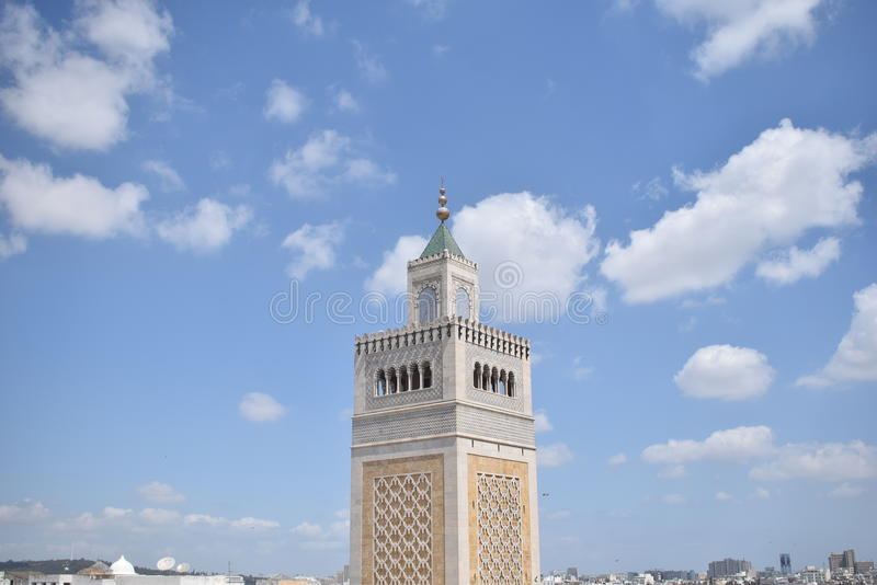 Rooftoop view of zitouna mosque stock images