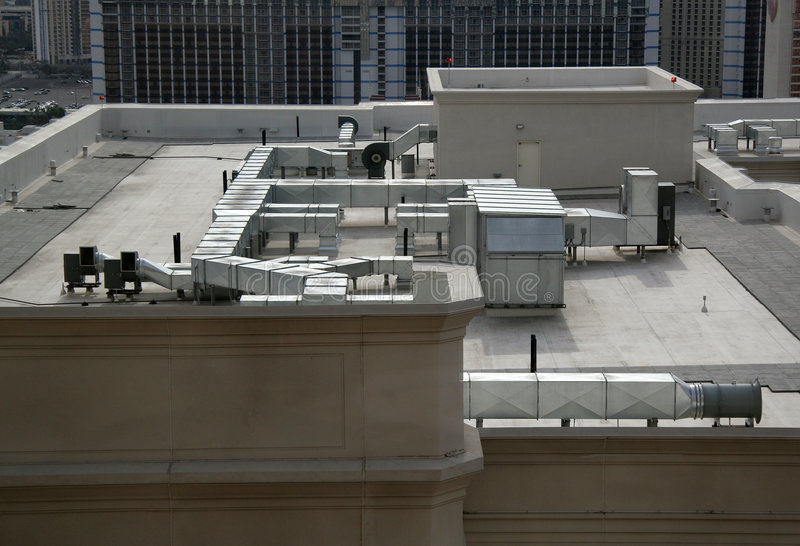 Rooftop Units Duct : Rooftop air handling equipment royalty free stock photos