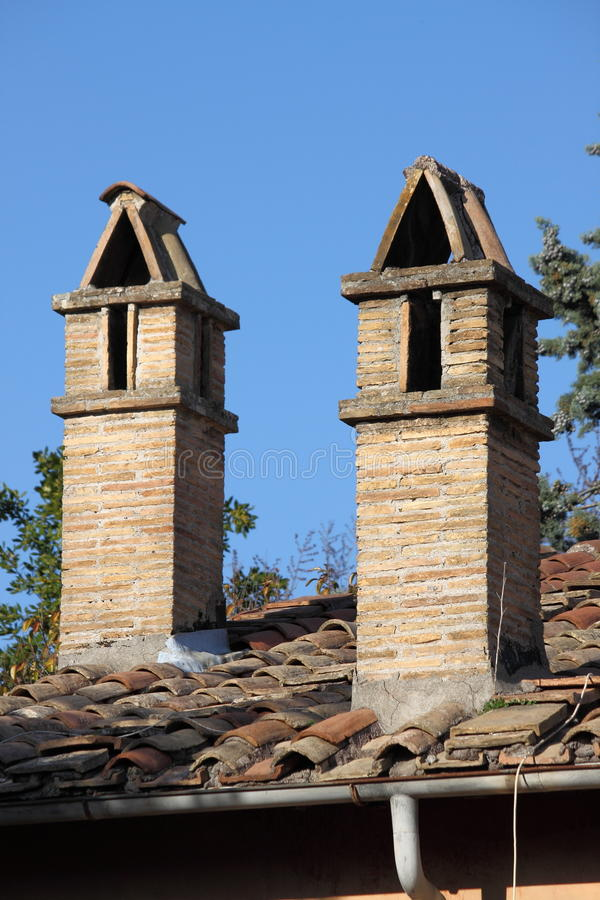 Rooftop chimneys royalty free stock photos