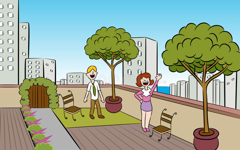 Rooftop City Garden vector illustration