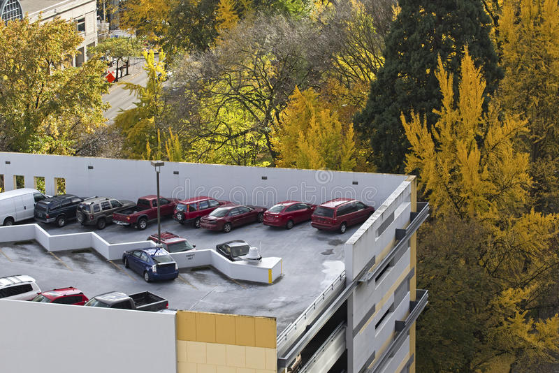 Rooftop City Parking In Autumn