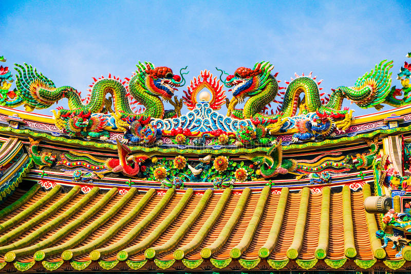 Rooftop Dragons royalty free stock photography