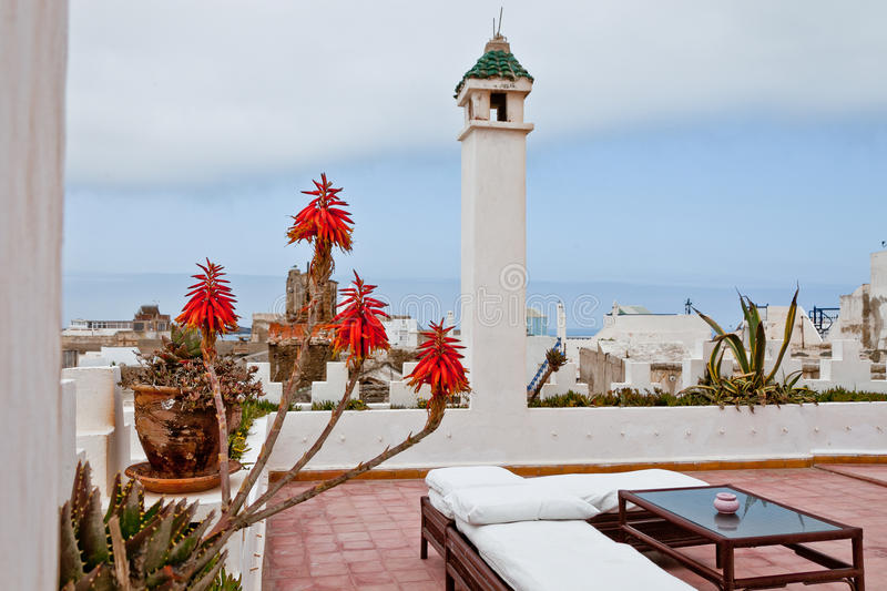 Rooftop in Essaouira, Morocco. stock photo