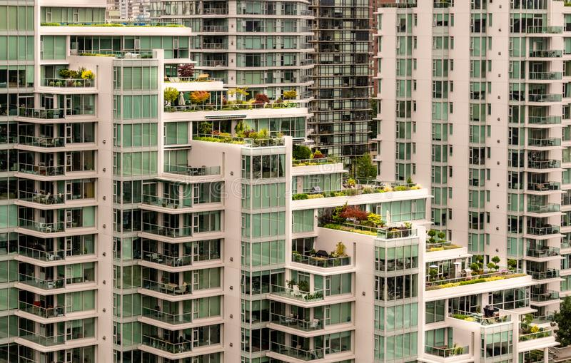 Rooftop gardens in downtown vancouver british columbia canada stock image