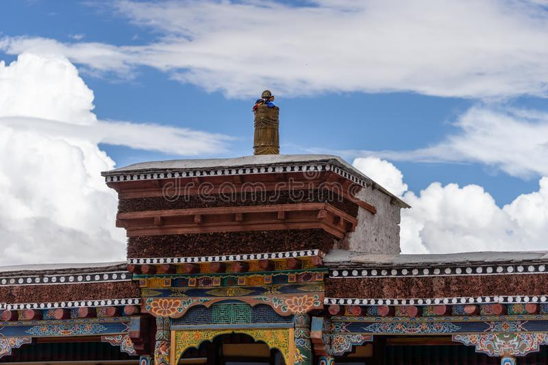 Rooftop of Hemis Monastery Tibet Buddhsim Temple in Leh Ladakh stock photo