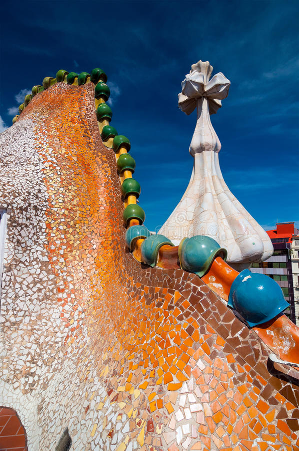 Rooftop of the house Casa Batllo designed by Antoni Gaudi. Barcelona, Spain - September 19, 2014: Rooftop of the house Casa Batllo - House of Bones designed by stock photography