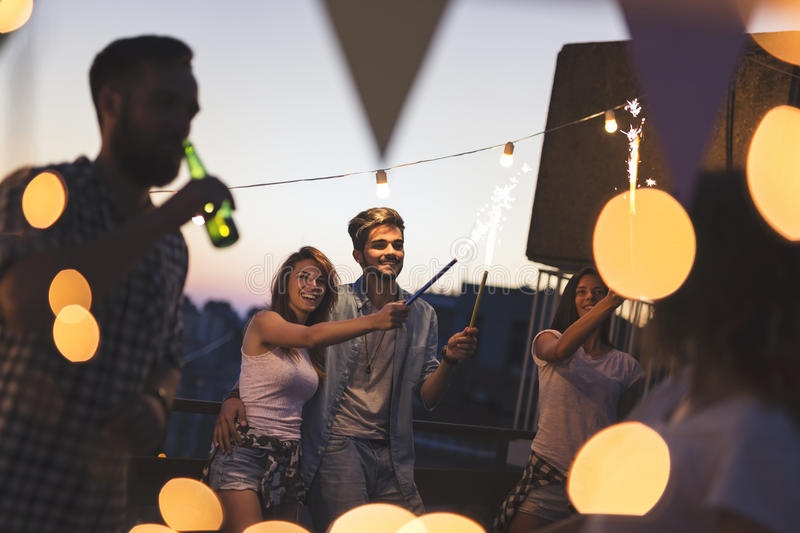 Download Rooftop party stock image. Image of beautiful, lifestyle - 95702649