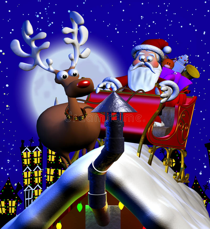 Rooftop Santa and Sleigh vector illustration