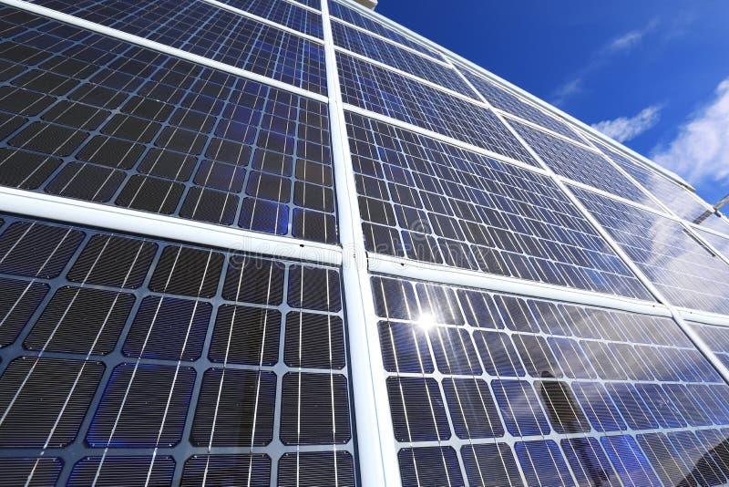 Solar electric cell array stock photo