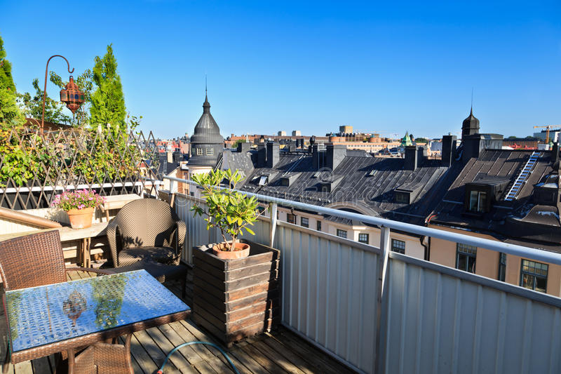 Rooftop terrace, Stockholm royalty free stock image