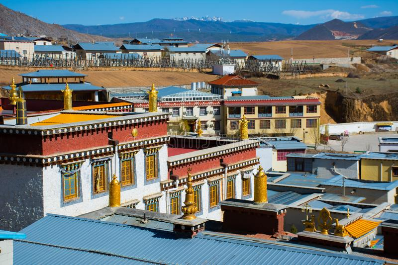 Rooftop Tibetan Monastery or temple at Shangri-la old town royalty free stock photography