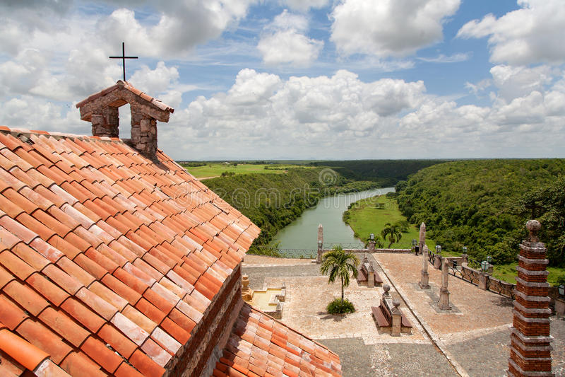 Rooftop view of Altos de Chavon valley and old church, Dominican stock photos