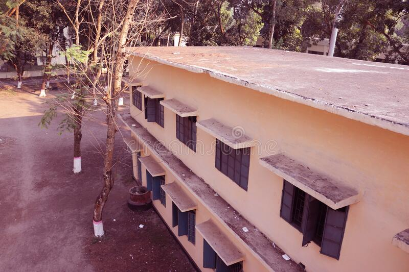 Rooftop view of a Building.Beautiful landscape and architecture of Carmichael College,Rangpur.Side view of a Building or Flat. Modern School and University royalty free stock photo