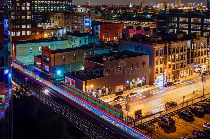Rooftop view of the city at night. Looking down on the streets of Chicago in Fulton Market. West Loop stock photos