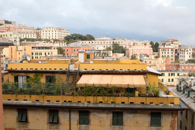 View of Genoa city in summer royalty free stock photography