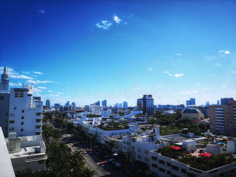 Rooftop view of Collins Avenue Miami Beach. Southbeach stock photos