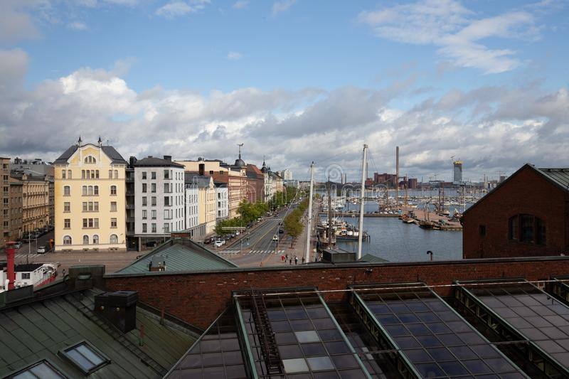 Rooftop view over Helsinki looking at buildings and water stock photography
