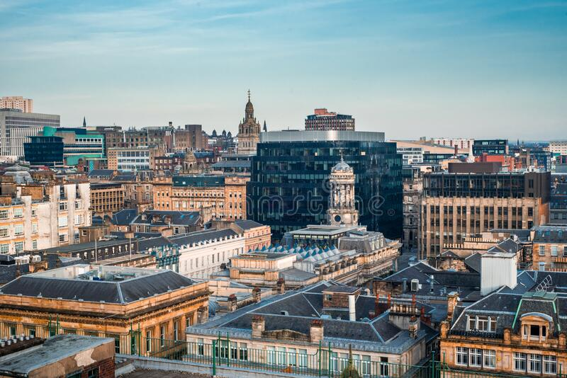 A rooftop view of the mixed architecture of old and new buildings in Glasgow city, Scotland. A rooftop view of the mixed architecture of old and new buildings in stock photography