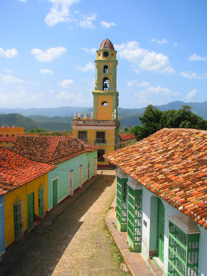 Rooftop view of old city in Trinidad royalty free stock photos