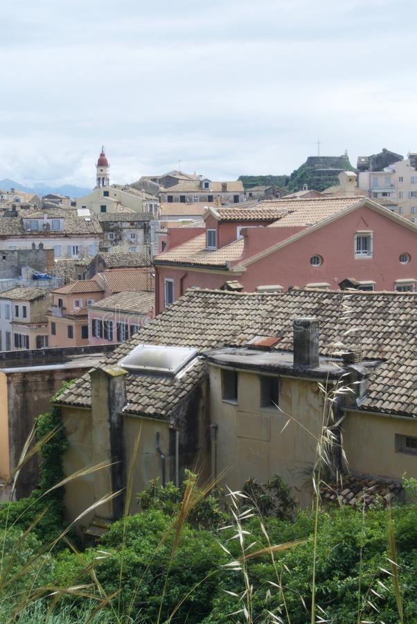 Rooftop view over Corfu town, Greece stock photo