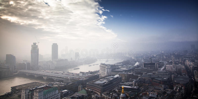 Rooftop view over London on a foggy day from St Paul& x27;s cathedral royalty free stock photo