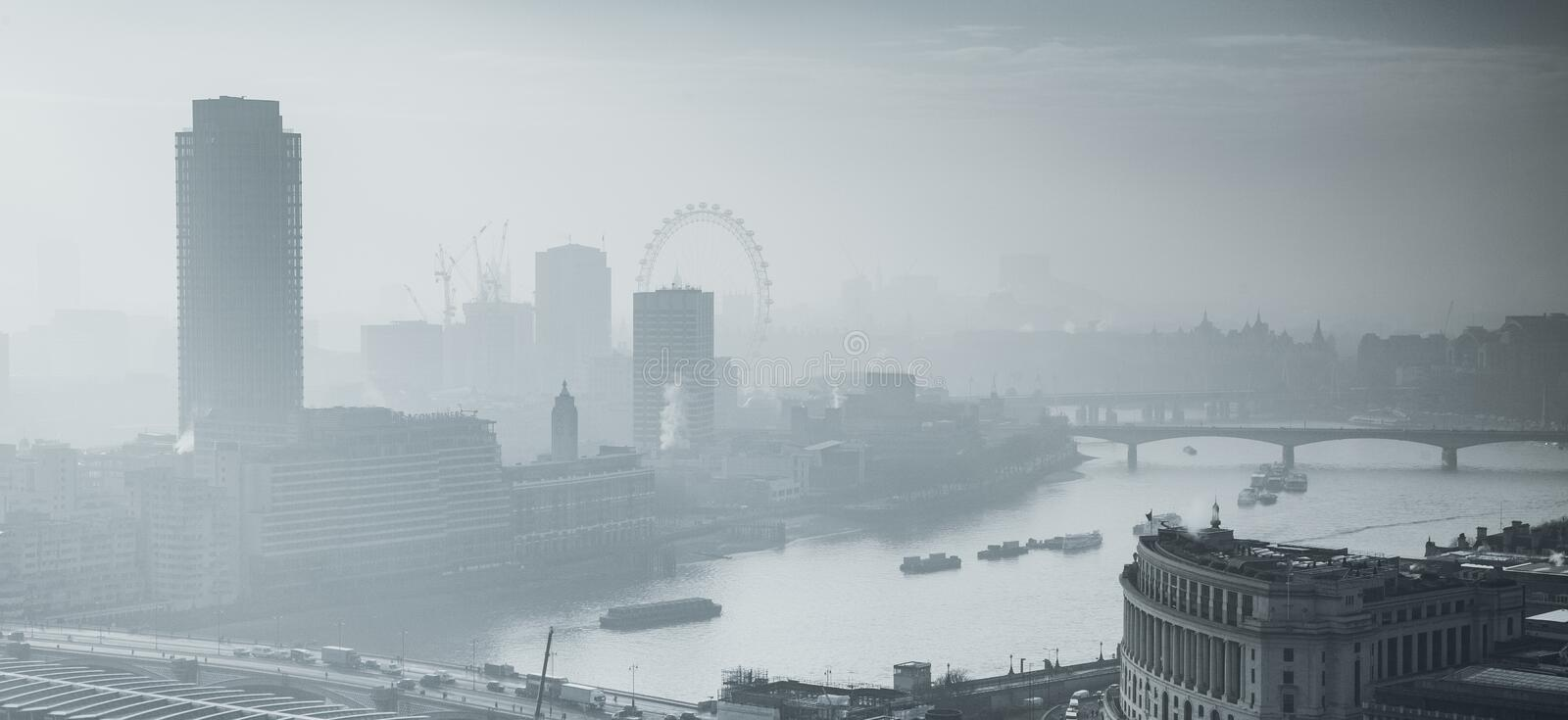 rooftop view over London on a foggy day from St Paul& x27;s cathedral, UK royalty free stock photo