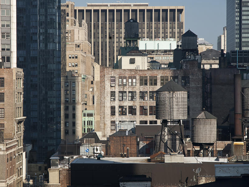 Rooftop Water Tanks. Water Tanks on Top of New York Buildings stock photos
