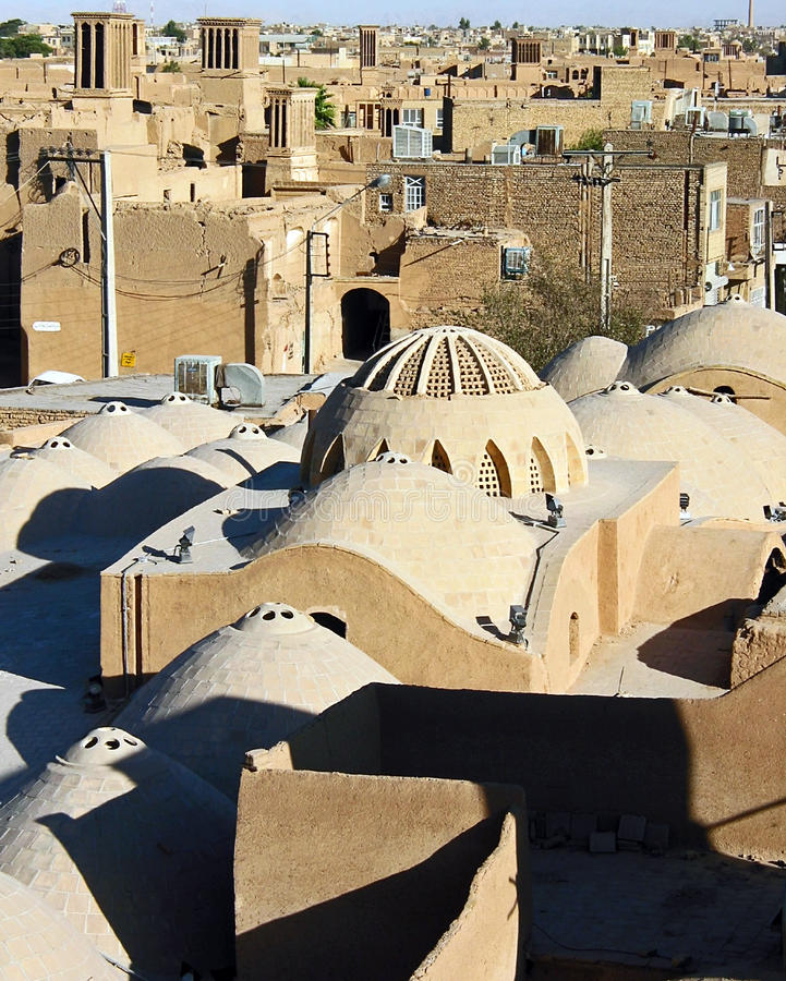 Rooftop and windtowers, Yazd royalty free stock photos